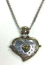 Brighton Heart Pendant Chain Necklace in Mixed Metal Tones of Gold and Silver