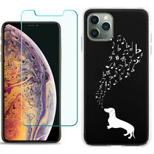 Tpu Case for Apple iPhone 11 Pro + Tempered Glass - Dachshund Music