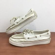 """Sperry Top Sider """"Bahama"""" Platinum / White Boat Shoe Cushioned Women's 5.5 M"""