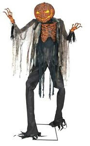 Halloween Animated 7 FT Scorched Scarecrow Jack O' Lantern Haunted Light-Up Prop