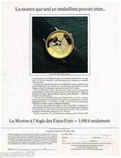 PUBLICITE ADVERTISING 105  1991  MEDAILLIER FRANKLIN montre L'AIGLE  ETATS-UNIS
