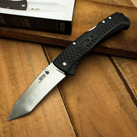 SOG Knives Traction Black Handle Stainless Plain Edge Tanto Lockback Knife 1012B