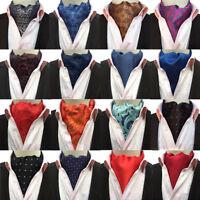 Men Floral Paisley Polka Dots Scarves Cravat Ascot Wedding Party Business Tie