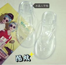 Womens Transparent Flip Flops Sandals Beach Slippers Shoes Flat Heel Clear Lit01