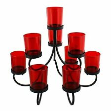 Chandelier Style Red Glass 10 Tea Light Candle Holder Metal Stand