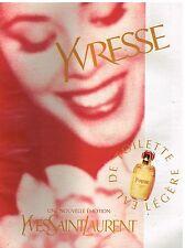 Publicité Advertising 1997 Eau de Toilette Yvresse par Yves Saint Laurent