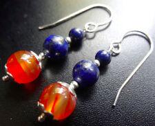 Pendientes de joyería con gemas azules naturales de lapislázuli