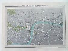 "LONDON CENTRAL VINTAGE BIRDS-EYE VIEW BARTHOLOMEWS 1920's 6"" x8"""