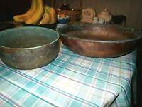 "Lot of 2 Antique vintage copper bowls 16 x 4"" and 9.5"" x 4"""