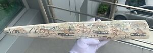 Scrimshaw copy faux walrus tooth made of plastic Vintage Chukchi