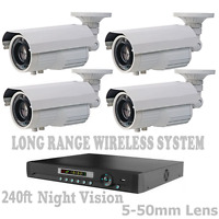 5,000FT LONG RANGE WIRELESS CCTV Weatherproof NightVision Camera System + DVR