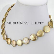 """18"""" 15-16mm Champagne Coin Freshwater Pearl Necklace UK"""