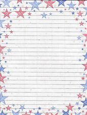 Patriotic Stars on Fine Lined Stationery Set, with 25 sheets and 10 envelopes