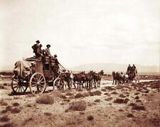 OLD WEST STAGECOACH VINTAGE PHOTO COWBOYS COWGIRLS HORSES 1878  #21295