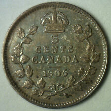 1906 Canadian Silver 5 Cents Coin Five Edward VII Canada Type Coin Extra Fine