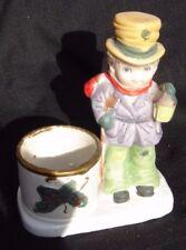 Christmas Luvkins tea light Hand Painted Porcelain Man w/ Lantern Jasco 1978