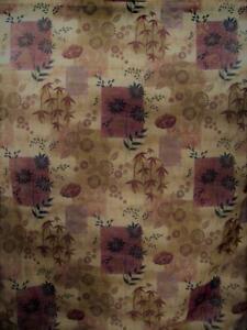 Floral Bathroom Shower Curtain Asian Influence Bamboo Burgundy & Gold Metallic