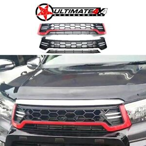 Front Grille Black/White with LED suits TOYOTA HILUX REVO N80 2015-2018