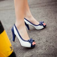 Women Bowknot PU Leather High Heel Stiletto Open toe Pull on Party Shoes Plus SZ