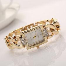 Womens Lady Twist Chain Stainless Steel Band Crystal Analog Quartz Wrist Watch