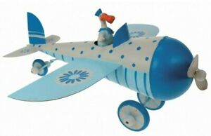 FUN METAL PLANE & DUCK PILOT ORNAMENT MOVING WHEELS CHILDS ROOM UK SELLER