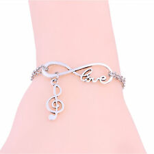 Music notation Infinity Jewelry Love Bangle Pendant Bracelet Chain Charm Cuff