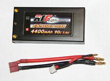 SHORTY HardCase LiPo 7.4V 4400mAh 90C 2S Battery 4mm Bullet Free USA Shipping