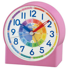 Seiko Childrens Time Teaching Alarm Clock For Kids  - Pink New UK QHE153P