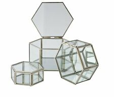 Gift Set Box For Jewellery Hexagonal Silver Edged Glass Trinket Boxes - Set Of 3