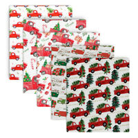 Christmas Truck Printed Cotton Fabric Patchwork Dress Sewing Xmas DIY Craft Deco
