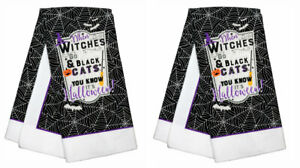 New Halloween Kitchen Towels ~ Set of 2 When Witches Go Riding & Black Cats