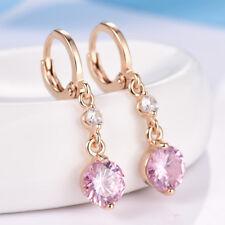 Simple White/Pink Swarovski Crystal Beaded Women Gold Filled Dangle Earrings