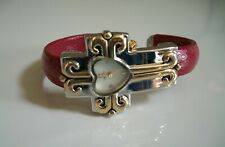 LADIES CROSS SHAPE RELIGIOUS RED/GOLD & SILVER FINISH CUFF FASHION BANGLE WATCH