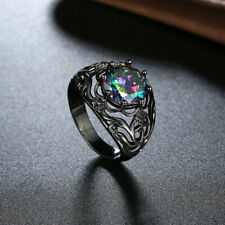 925 Silver Ring 14kt Black Gold Filled Rainbow Jewelry Size 6-10 Topaz Wedding