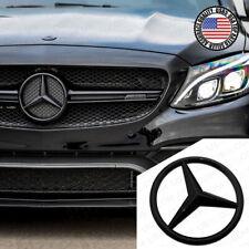 For Mercedes Front Grill Add On Logo Badge Emblem Upgrade AMG Sport Gloss Black