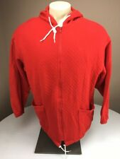 Vintage Speedo Fire Truck Red Full Zip Long Quilted Hoodie Swim Coat/jacket L