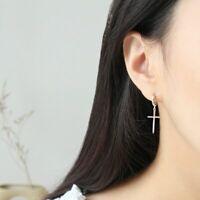 Damen Ohrhänger Kreuz Creolen echt Sterling Silber 925 Ohrringe
