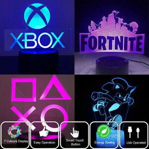 3D Acrylic LED XBOX Game Logo 7-Colors Night Light Touch Table Lamp Kids Gifts