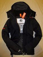 Superdry Mens Windcheater Hooded Quilted lined Jacket coat  Black Grey