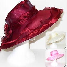 Cappello Cerimonia a falda larga elegante donna bordeaux bianco panna rosa D0604
