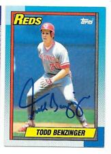 TODD BENZINGER 1990 TOPPS AUTOGRAPHED SIGNED # 712 REDS