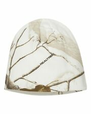 "REALTREE AP SNOW CAMO KNIT STOCKING CAP OR BEANIE, HAT 8"" - WHITE CAMOUFLAGE"