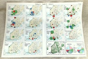 1925 Antique Map of Finland Finnish Industry Commerce Economics Choropleth Data
