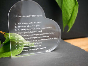 10 Reasons Why I Love You Heart Paperweight Plaque Husband Wife Valentine's Gift