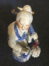 Chinese Elderly Blue And White Porcelain Statue