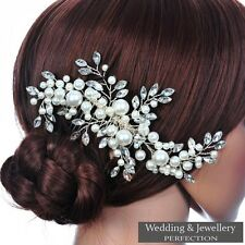 Bridal Flower Hair Comb Diamante Crystal Pearl Wedding Clip Slide Headband Prom