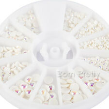 Nail Art Pearl Bead Rhinestone Decoration Wheel White AB Flat Back Coated 3Sizes