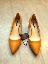 ZARA Women's Block Heel Shoes with Metal Detail(Mustard, US 8, 9/EUR 39, 40)