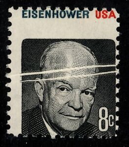1971 US #1394 - 8c Eisenhower Misperf with Horizontal Paper Creases Mint NH