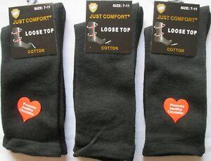 Mens Business Black Socks x 3 Loose Top No Elastic Help Circulation Comfort 7-11